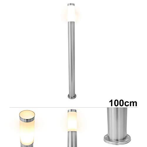Grafner XL Edelstahl Wegeleuchte mit E27 Fassung, Höhe: 100 cm, Wegleuchte Weglampe Gartenlampe Gartenleuchte Standlampe Außenstandleuchte Pollerleuchte