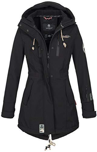 Marikoo Damen Winter Jacke Winterjacke Mantel Outdoor wasserabweisend Softshell B614 (Gr. XXXL/Gr. 46, Schwarz)
