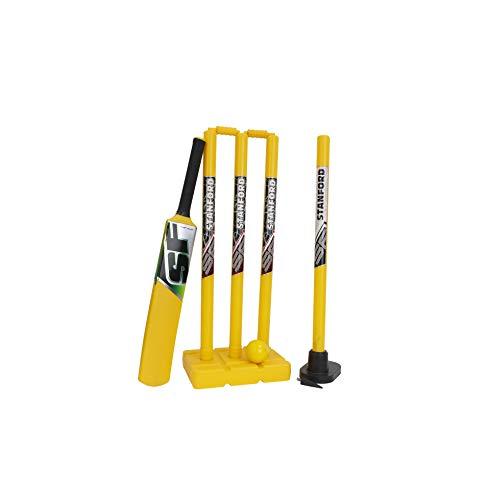 Whitedot Sports SF KWICK Cricket Set (3 PCS Plastic Stump with Base & BAILS, 1 Bat, 1 Ball)- Size 6