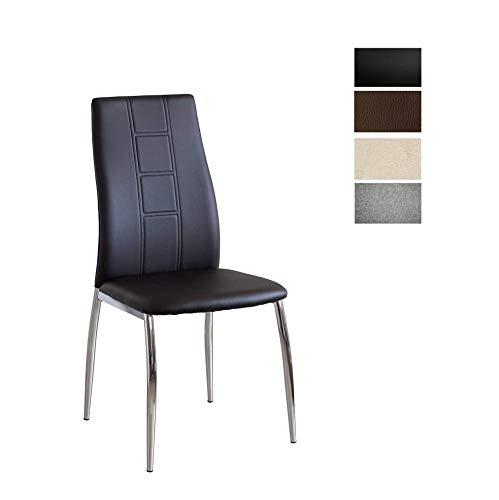 CAMBIA TUS MUEBLES - Pack de 6 sillas Comedor CORFÚ tapizadas en símil Piel Negro, marrón o en Te