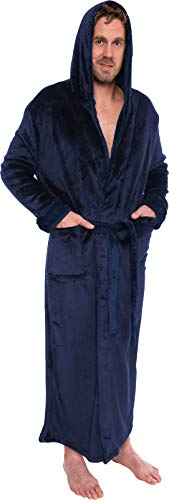 Ross Michaels Mens Hooded Long Robe - Full Length Big & Tall Bathrobe (Navy, XXL)