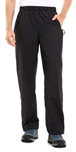 clothin Men's Rain Pants Waterproof Elastic Waist with Zipper Pocket( Black,M)