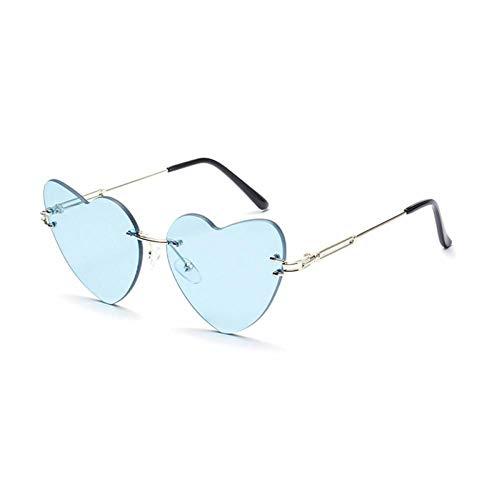ZZOW Gafas De Sol Sin Montura con Forma De Corazón Y Amor A La Moda para Mujer, Gafas Únicas Retro, Lentes De Sol Transparentes para Mujer, Gafas De Sol Uv400