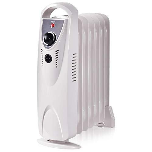 Purchase COSTWAY Oil Filled Heater, 700W Portable Radiator Heater for Bedroom, Home& Office with Adj...