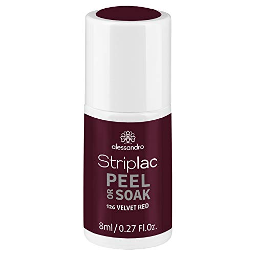 alessandro Striplac Peel or Soak Velvet Red – LED-Nagellack in dunklem, samtigen Rot – Für perfekte Nägel in 15 Minuten – 1 x 8ml