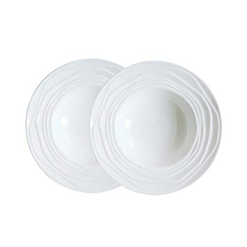 SYZD Juegos De Vajilla De Porcelana Plato De Pasta Azul Vajillas Retro Ideal para Uso Diario Y Regalos Vajillas Combinadas White
