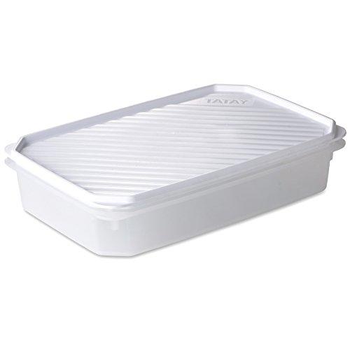TATAY 1162101 - Contenedor de alimentos hermético rectangular con tapa flexible a presión blanca, libre de BpA, 2,1 litros de capacidad, 28,5 x 18,5 x 6