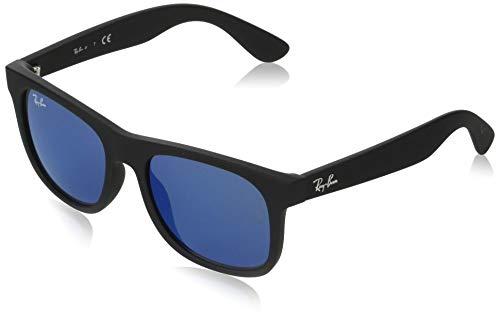 Ray-Ban Junior Kids' RJ9069S Square Sunglasses, Rubber Black/Blue Mirror Blue, 48 mm