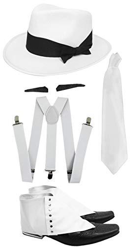 I LOVE FANCY DRESS LTD Conjunto DE GÁNGSTERS para Adultos Kit DE Disfraces Accesorio - Tirantes Blancos + Corbata Blanca + SPIV Tash + Polainas + Sombrero TIROLÉS Blanco Fiestas DE Disfraces