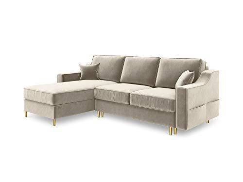 Canapé d'angle 4 places Beige Velours