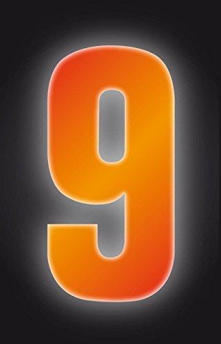 Autocollants à poubelles numérotés 17 cm - 9 haute visibilité Orange