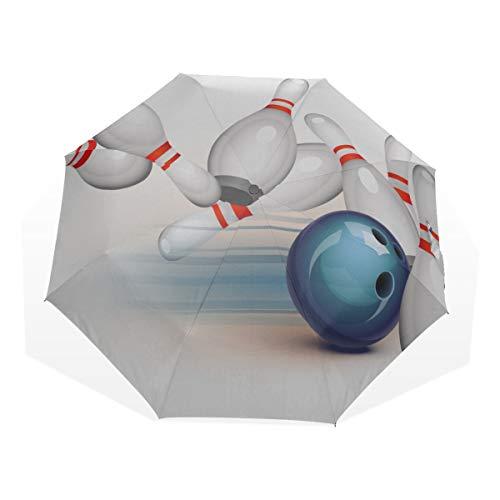 Reiseregenschirm Abstrakt Bowlingkugel Schlagen Alle Anti Uv Compact 3-Fach Kunst Leichte Faltschirme (Außendruck) Winddicht Regen Sonnenschutzschirme Für Frauen Mädchen Kinder