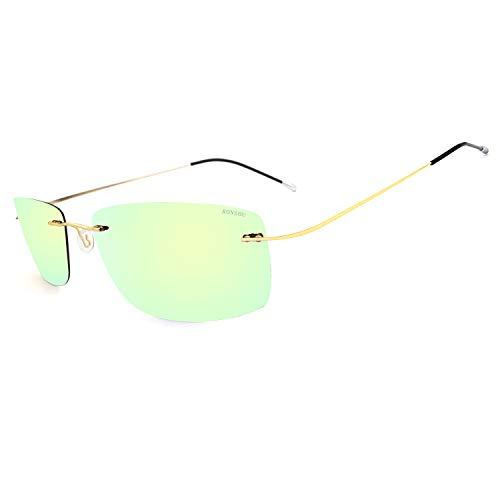 RONSOU Gafas de Sol de Los Hombres Moda Ultraligeras Polarizadas Sin Montura Titanio para Conducir Al Aire Libre Marco Dorado Lente Dorada (reflejado)