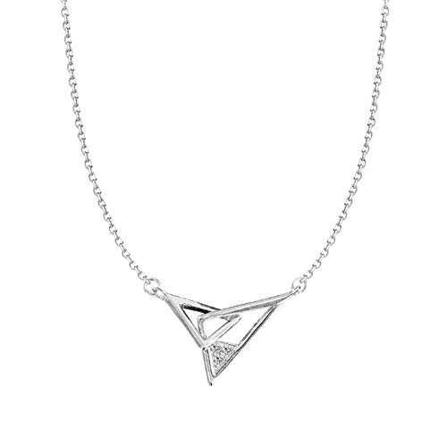 FJCY Collar con Colgante de triángulo Entrelazado Collar de Cadena de clavícula de circonita Plateada para Mujer