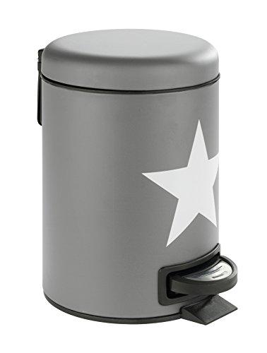 WENKO Kosmetik Treteimer Stella - Kosmetikeimer, Mülleimer mit Tretmechanismus Fassungsvermögen: 3 l, Stahl, 17 x 25 x 22,5 cm, grau