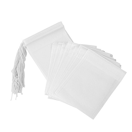 Teebeutel Leeres 100 Stück Papier, Teefilterbeutel Einweg-Infuser mit Kordelzug, 2.75 x 3.54 Zoll / 7 x 9 cm