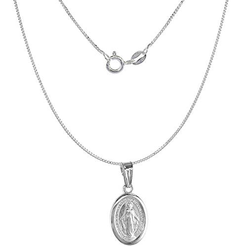Very Tiny Sterling Silver Miraculous Medal Necklace Oval Virgin Mary Italy 1/2 inch, 18 inch Chain 0.8mm 1/2 Sterling Silver Jewelry