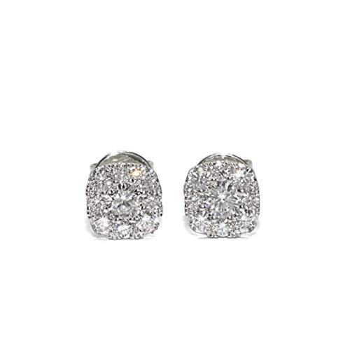 Bellissimi orecchini con diamanti taglio brillante da 0,41 ct, 2 diamanti centrali da 0,16 ct e 16 diamanti intorno a 0,25 ct, oro bianco da 18 carati con chiusura a pressione e 6 mm.