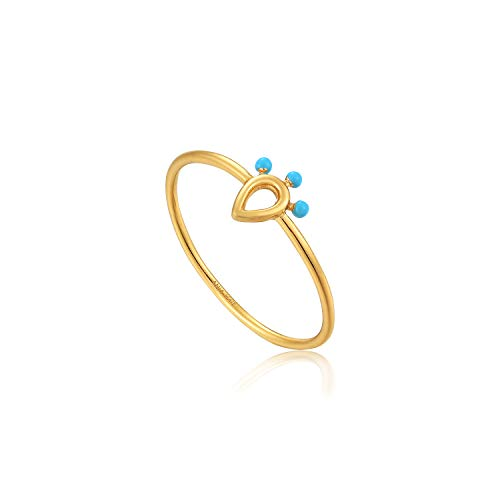 ANIA HAIE 925 Sterling Silver Small Turquoise Blue Dot Bead Boho Layering Ring, 14k Gold Plated, Size 50 / L
