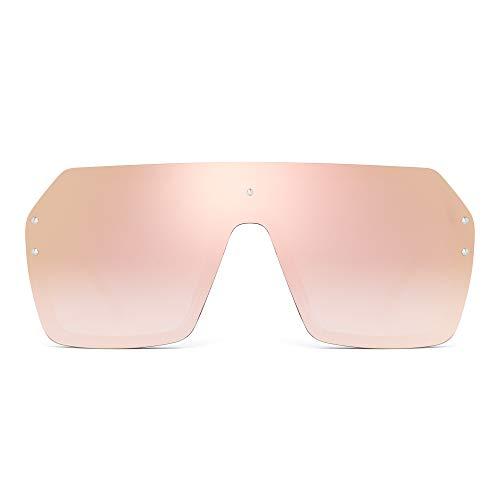 JIM HALO Oversized Schild Sonnenbrillen Flach Top Gradient Linse Randlos Brillen Für Damen Herren(Schwarzer Rahmen/Spiegelrosa Linse)