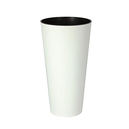 Hohe Blumenvase Blumentopf inkl. Einsatz glänzende Oberfläche Shine D300 weiss TUBUS Serie Kunststoff