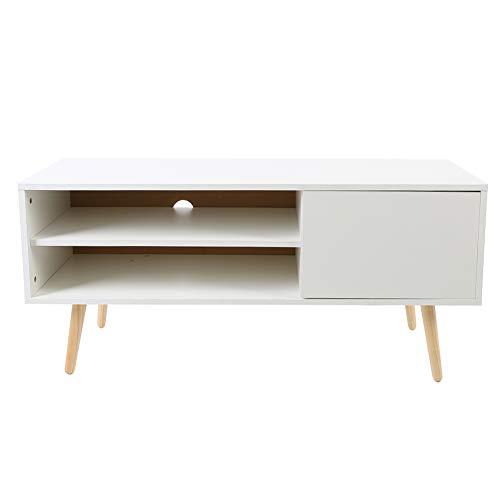 Ejoyous Mueble de TV bajo Mueble de TV con Puerta y cajones, Mueble de TV de Madera Multifuncional Blanco Mueble de TV escandinavo Mesa de Centro 100x40x50cm