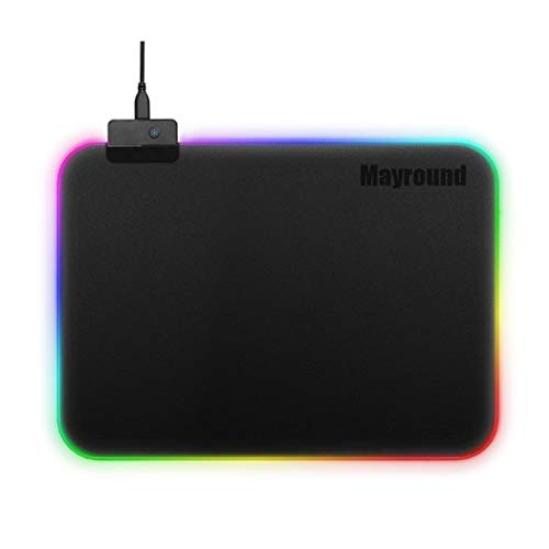 Mayround LED Light up Mouse Pad, RGB Gaming Mouse Pad with 14 Lighting Modes Glowing Light and Thick Soft Mat Non-Slip Rubber Base for Laptop Computer PC Games(13.8 x 9.8 Inch)