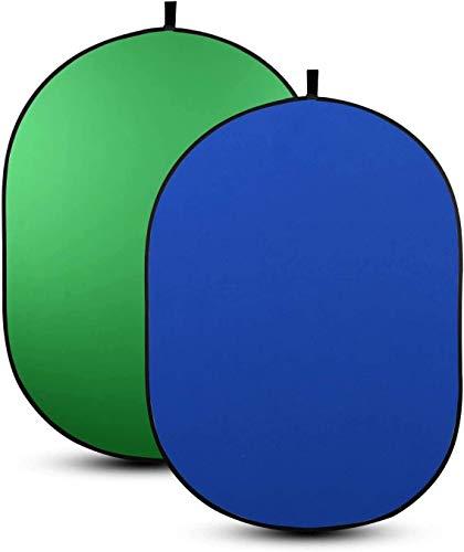 HAIJIN Tragbare Webcam Green Screen Hintergrund, Zusammenklappbarer Fotografie Doppelseitiger Chromakey Hintergrund, Runder Pop Up Stuhl Green Screen Hintergrund Fix Auf Stuhl (Blau)