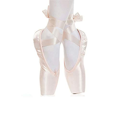 YHWD Ballett Spitzenschuhe Tanzschuhe Ballettschläppchen Mit Sanft Komfortabel Für Mädchen Frauen,Rosa,Size 26