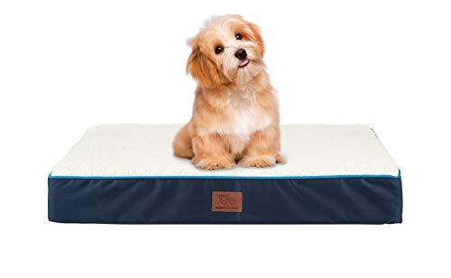 SunStyle Home Orthopedic Foam Dog Bed for Small & Medium Dogs Up to 50lbs with Waterproof Removable Cover, Mattress Pet Mat Bed for Dogs & Cats - Orthopedic Egg Crate Foam Platform, Dark Blue