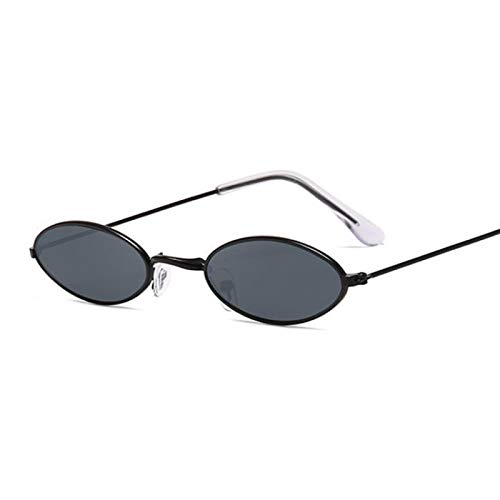 MAOXING Gafas De Sol Redondas Negras De Montura Pequeña Gafas De Sol De Moda Retro Ovaladas para Mujer Blackgray