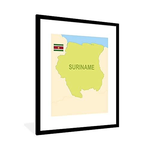 Poster mit Rahmen - Die Karte von Suriname illustriert mit der Flagge - fotolijst zwart met witte passe partout 60x80 - 60x80 cm