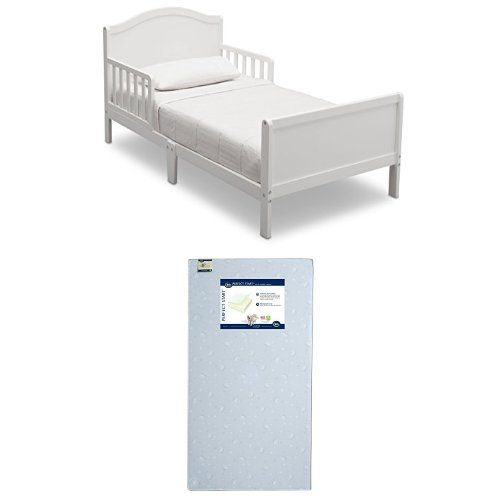Delta Children Bennett Toddler Bed, Bianca White with Serta Perfect Start Crib and Toddler Mattress