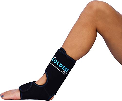 The Coldest Foot Ankle Achilles Pain Relief Ice Wrap with 2 Cold Gel Packs | Best for Achilles Tendon Injuries, Plantar Fasciitis, Bursitis & Sore Feet Built for Cold Therapy (Black XS-XL)