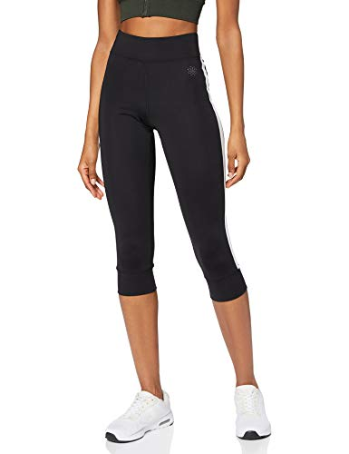 Marca Amazon - AURIQUE Mallas de Deporte Cortas con Banda Lateral Mujer, Negro (Black), 40, Label:M
