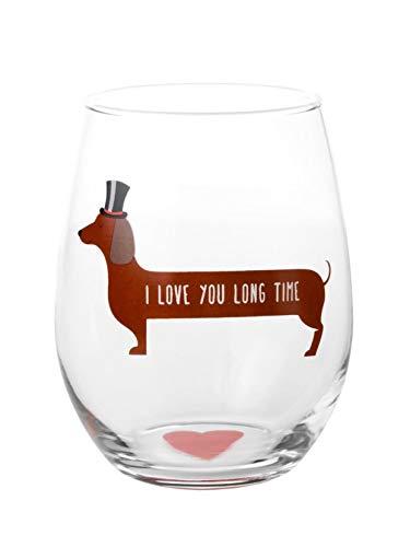 I Love You Long Time Dog Wine Glass