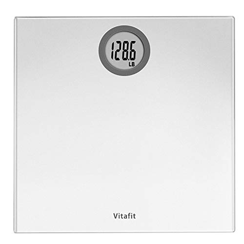Vitafit Digital Body Weight Bathroom Scale Weighing Scale with StepOn Technology LCD Display400lbBatteries Included Elegant Silver