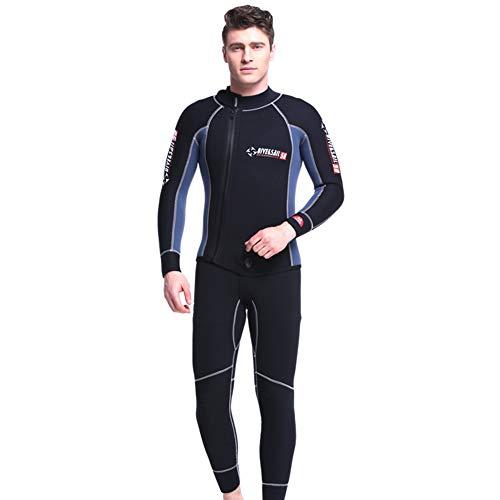 X-xyA Mute da Uomo Muta da 5 mm in Neoprene da 2 Pezzi Muta Termica con Zip Frontale da Sub Snorkeling,A,XXXL
