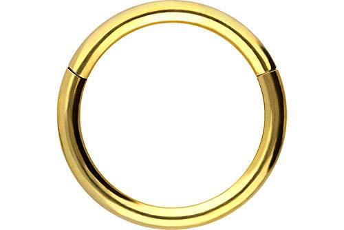 PIERCINGLINE Chirurgenstahl Segmentring Clicker | Piercing Ring Septum Helix Tragus | Farb & Größenauswahl, Goldfarben