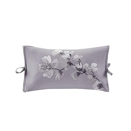 Sakura Blossom Embroidered Cotton Oblong Decorative Pillow Lilac 12x20