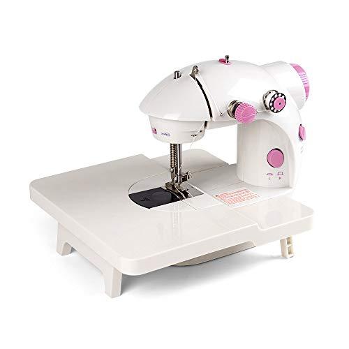 NEX - Máquina de coser, minisoporte plegable para ampliar el rango de funcionamiento con pedal de doble pedal y cubierta de luz LED para principiantes (rosa)