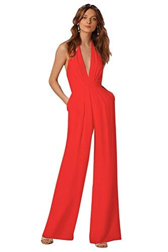 Minetom Femme Élégante Col V Profond sans Manches Dos Nu Jumpsuit Playsuit Rompers Bustier Licou Combinaison Pantalon Large Soiree Rouge FR 38