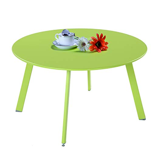 Grand Patio Round Steel Patio Coffee Table, Weather Resistant Outdoor Large Side Table, Green