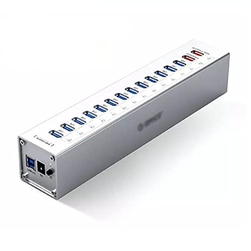 GFDFD Puertos De Aluminio De 13 Puertos Multi USB3.0 HUB Divisores con 12V / 5A Fuente De Alimentación Independiente 2 Puertos De Carga