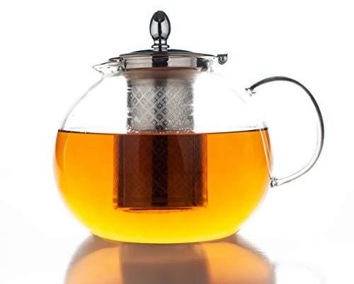 Hanseküche Premium Teekanne 1,5 Liter Glas Teebereiter 1500 ml - Sehr hitzebeständige Teekanne, Glaskanne und Teebereiter aus Borsilikatglas - Abnehmbares und entfernbares Edelstahl Sieb