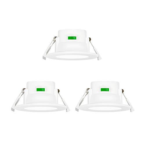 Petite Lampes Spot Encastrable LED Plafond 8W Dimmable Extra Plat 220V pour Salle de Bain et Cuisine Couleur Eclairage Réglable 3000K/ 4000K/ 5000K Diamètre Trou de Plafond 70-85MM Lot de 3 de Enuotek