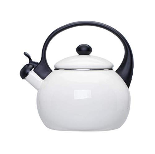 Básculas Digitales, tés Hervidor de Gas esmaltado para Estufa Hervidor con Silbato con Mango de Madera, 2,5 litros, Blanco