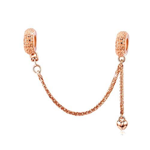 Abalorio con cadena de seguridad en plata de ley 925, compatible con pulseras Pandora,cadena de eslabones, abalorios para mujer