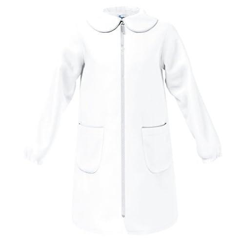 siggi Grembiule Scuola Linea Happy School - Elementare Bambina Colore Bianco Senza Ricamo Personalizzabile Abbottonatura Centrale con Zip, Colletto Bianco.