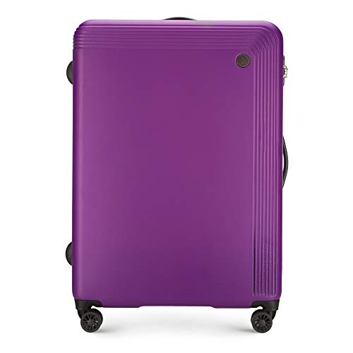 WITTCHEN Robusto trolley da valigia grande di Carrello con guscio rigido in ABS 4 ruote con serratura a combinazione Viola